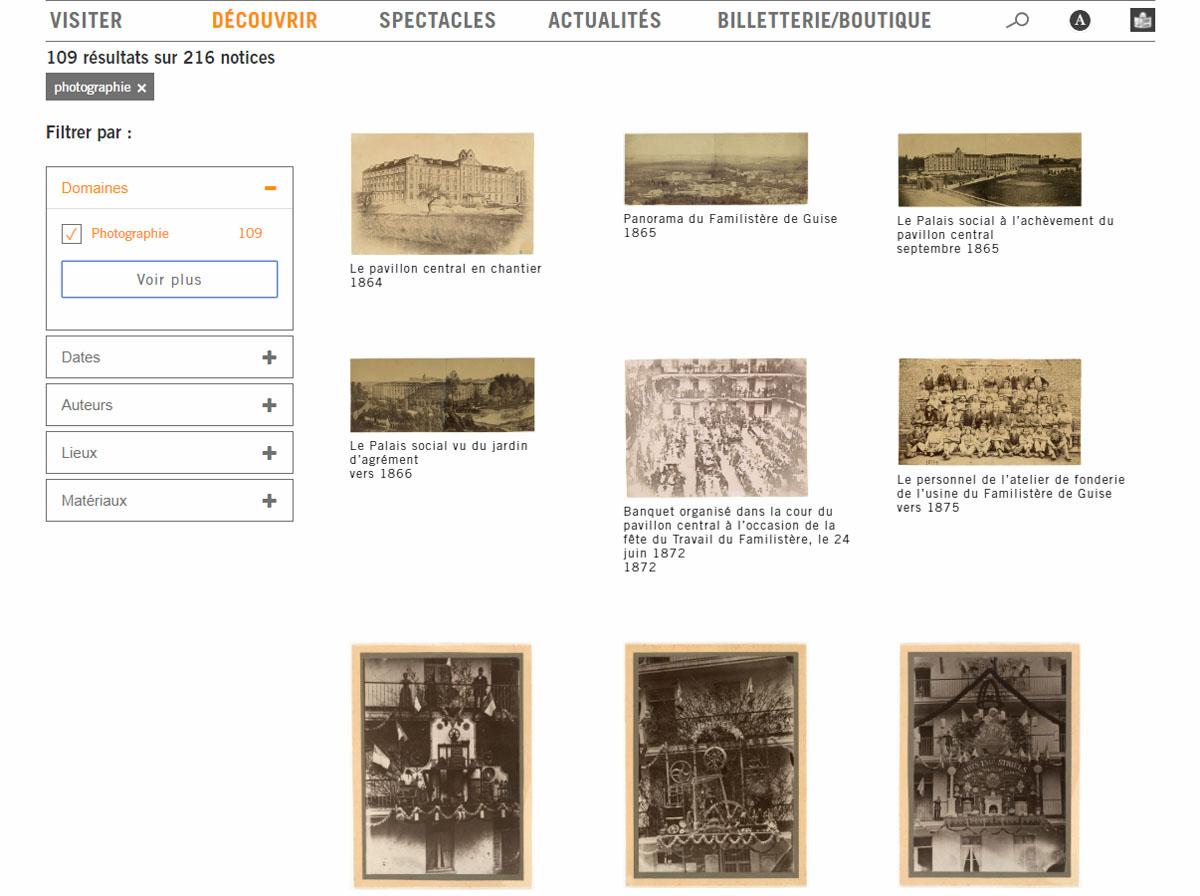 La vue montre une page du site internet du Familistère